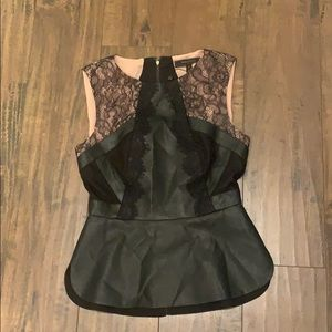 Black leather and lace peplum top